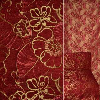 Шенилл жаккард бордовый с золотыми цветами ш.140 оптом