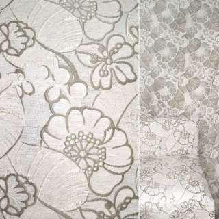 Шенилл жаккард бежево-серый с белыми цветами ш.140 оптом