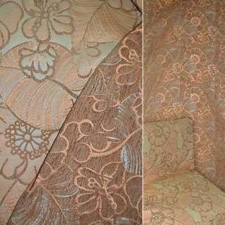 Шенилл жаккард оранжевый с бежево коричневыми цветами ш.140 оптом