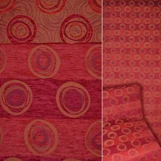 Шенілл фукра меблевий троянда графічна на червоному тлі, ш.140 оптом