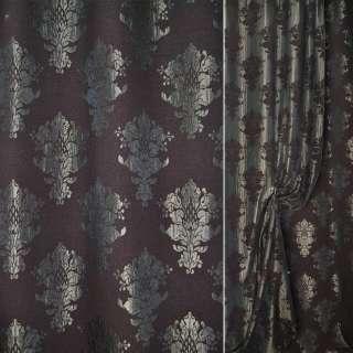 Шеннил фукра коричная в серые вензеля ш.140 оптом