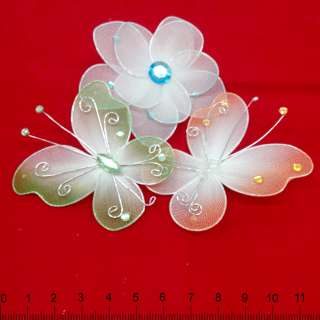 бабочки и цветы с камнями на булав. оптом