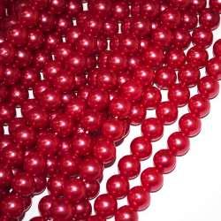 Бусины на нитке акрил под жемчуг 10мм красные темные оптом