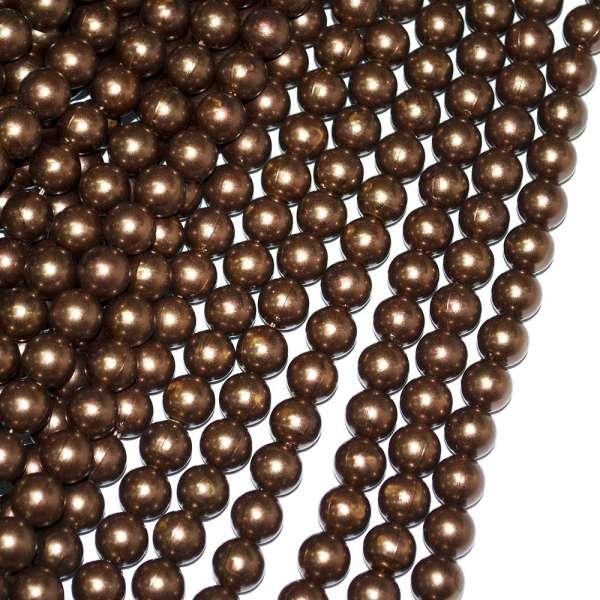 Бусины на нитке акрил под жемчуг 10мм коричневые оптом