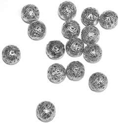 Бусина металлическая 14мм ажурная серебро темное оптом