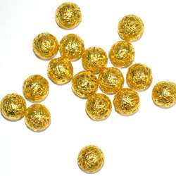 Металлическая ажурная бусина золото светлое 14мм оптом