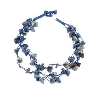 Бусы из камня Индия прямоугольные длина низки 52см синие оптом