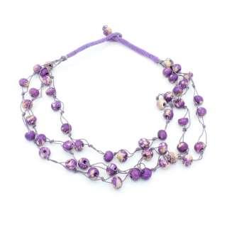 Бусы из камня Индия круглые длина низки 52см фиолетовые оптом