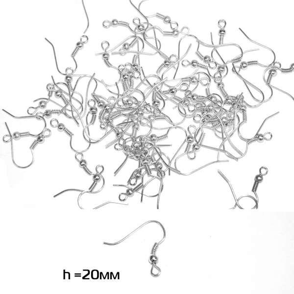 Основа для сережки (швензы) 20мм серебристая светлая оптом