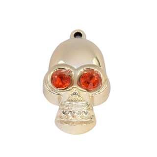 Подвеска металл со стразами череп 45мм золотистая с красным оптом