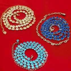 Пояс  металлический с голубыми или белыми или синими стразами (70см без цепочки) оптом