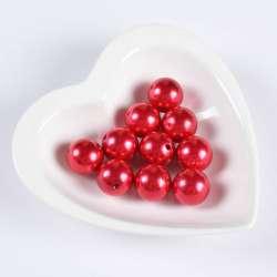 Бусина жемчуг красная 20мм (цена за 1г) оптом