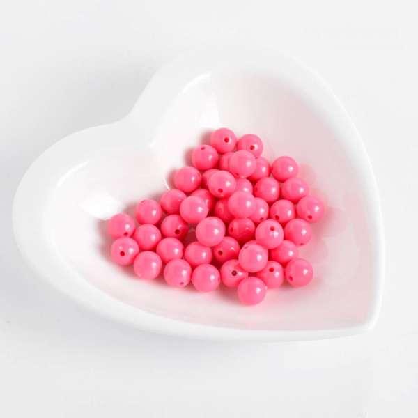 Бусина пластик 10мм розовая неон (цена за 1г) оптом