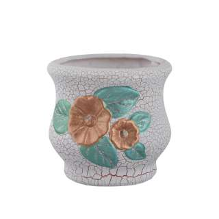Кашпо керамика кракелюр с цветком золотистым 12х12х12см вн. 11,5х8,5х8,5см белое оптом