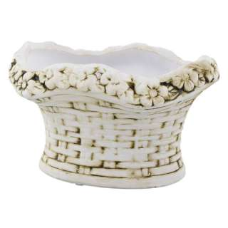 Кашпо керамика корзина с цветами овальная 12х15,5х20,5см вн. 10х16х11,5см бело-коричневое оптом