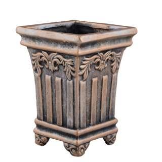 Кашпо в античном стиле керамика Колонна 16х12х12см вн. 14,5х9,5х9,5см под бронзу оптом