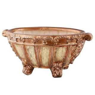 Кашпо в античном стиле керамика чаша на ножках овальное 17х40х21см вн. 13х29х16см бежево-золотистое оптом