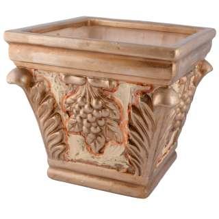 Кашпо в античном стиле керамика с виноградом 23,5х25х25см вн. 22х21,5х21,5см бежево-золотистое оптом