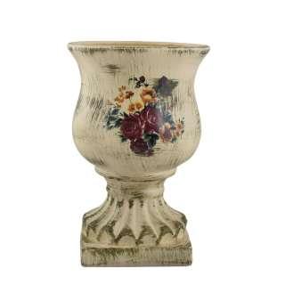 Кашпо в античном стиле керамика кубок с букетом 29х19,5х19,5см вн. 28х17х17см кремовое состаренное оптом