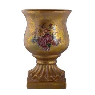 Кашпо в античном стиле керамика кубок с букетом 29х19,5х19.5см вн. 29х18х18см золотистое оптом