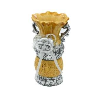 Ваза керамическая с ручками и цветком 17х10х8 см бежево-серебристая оптом