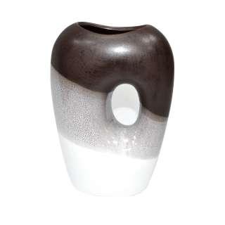 Ваза двойная керамика 20 см омбре коричнево-белая оптом