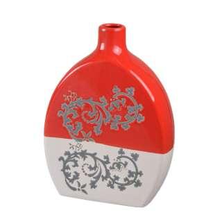 Ваза керамика с орнаментом серым 29 см красно-белая оптом