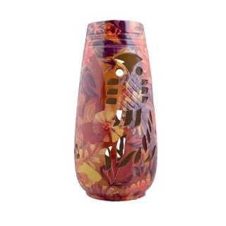 Ваза керамика перфорация сова листья цветы 24х11 см красно-фиолетово-желтая оптом