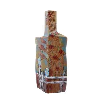 Ваза керамика бутылка граненая бамбук птицы 31х14х8 см голубая с коричневым оптом