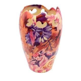 Ваза керамика перфорация с ажурным краем цветами 21х13 см оранжево-фиолетовая оптом