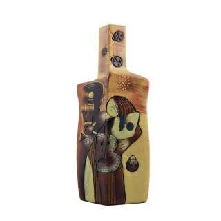 Ваза керамика бутылка граненая пара 31 см желтая с коричневым оптом