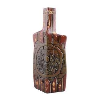 Ваза керамика бутылка граненая иероглифы 31 см коричневая оптом