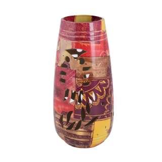 Ваза керамика перфорация сова лоскутки 24х11 см коричнево-красные оптом
