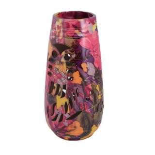 Ваза керамика перфорация сова листья цветы 24х11 см розово-фиолетовая оптом