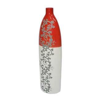 Ваза керамика с орнаментом серым 47 см красно-белая оптом