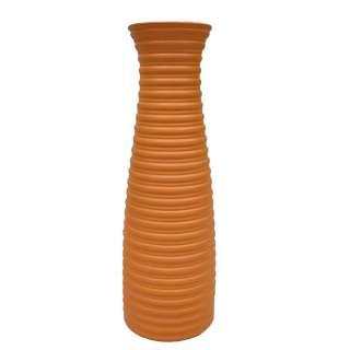 Ваза напольная керамика гофрированная 46 см оранжевая оптом