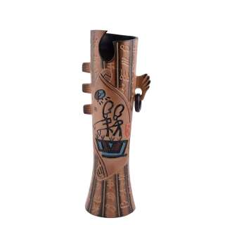 Ваза керамика этно с сережкой иероглифами 34 см коричневая оптом