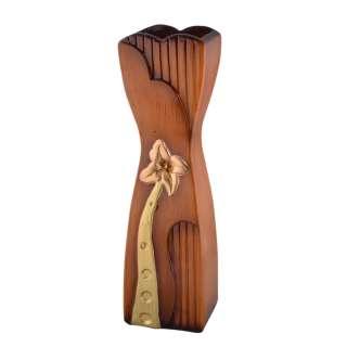 Ваза для підлоги кераміка з золотистим квіткою звужений центр 50 см коричнево-руда оптом