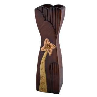 Ваза для підлоги кераміка з золотистим квіткою звужений центр 50 см коричнева оптом