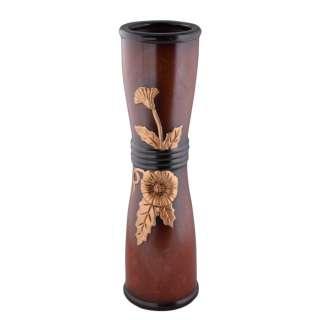 Ваза для підлоги кераміка з золотистою квіткою кільцями вісімка кругла 50 см коричнева оптом