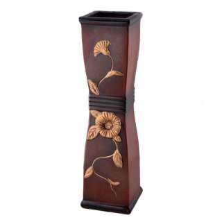 Ваза для підлоги кераміка з золотистою квіткою кільцями вісімка квадратна 52 см коричнева оптом