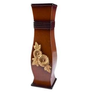 Ваза для підлоги кераміка з золотистою квіткою кільцями квадратна 51 см коричнева оптом