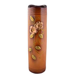 Ваза для підлоги кераміка з золотистою квіткою хвилястим верхом бочонок 50 см коричнево-руда оптом