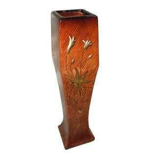 Ваза для підлоги кераміка з золотистим квіткою кубок 63 см коричнево-руда оптом