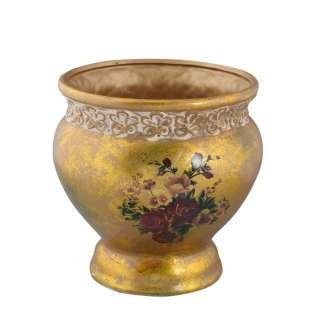 Кашпо в античном стиле керамика с букетом 21х19,5х19,5см вн 20х17,5х17см золотистое с белой отделкой оптом