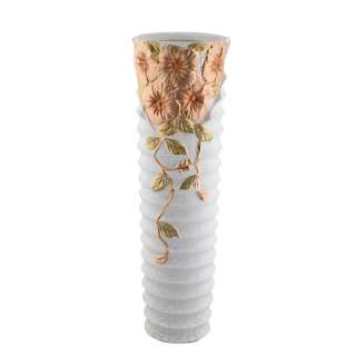 Ваза напольная керамика гофрированная с золотистыми цветами 60 см белая оптом