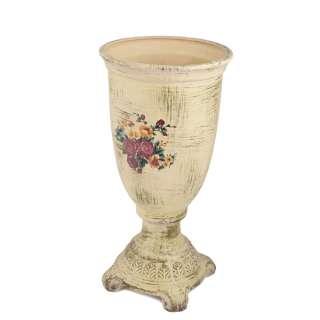 Кашпо в античном стиле керамика кубок с букетом 43х21,5х21,5см вн. 28х19х19см кремовое состаренное оптом