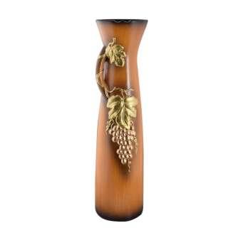 Ваза для підлоги кераміка з ручкою золотистим виноградом 71 см коричнево-руда оптом