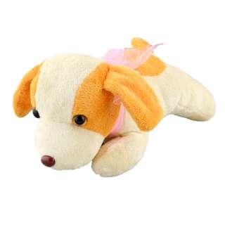 Мягкая игрушка собачка с розовым бантиком высота 13 см 23х27 см молочная с желтыми ушками оптом