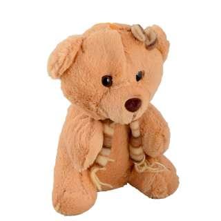 Мягкая игрушка мишка с шарфиком 22 см рыжий оптом